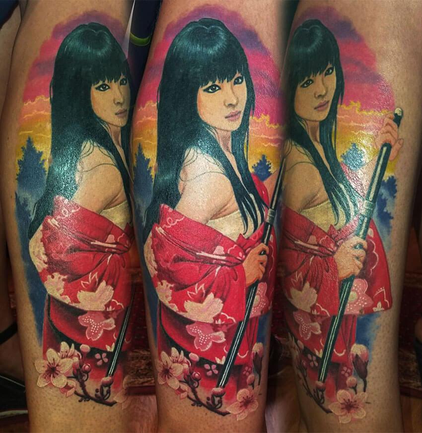 101. Lány katanaval, szamurály gésa tetoválás