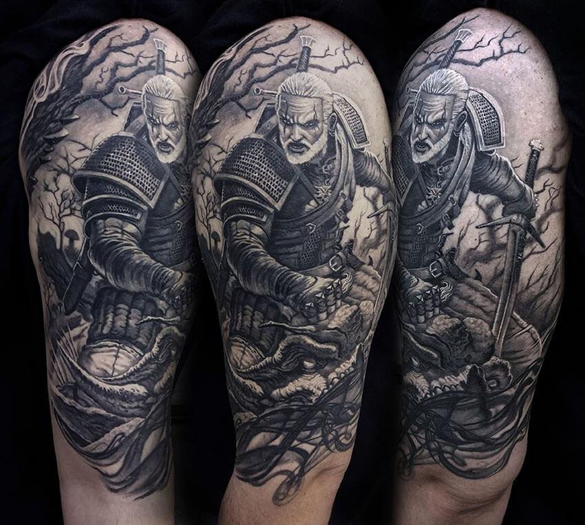 99. Witcher Rivai Geralt tetoválás